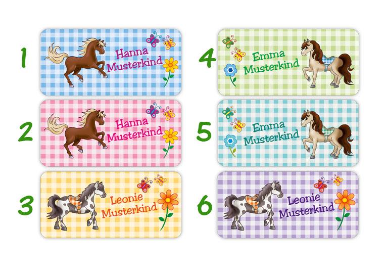 eckige Namensaufkleber, Motiv: Ponys auf Karo,  hochwertige, umweltfreundliche PVC-freie Folie