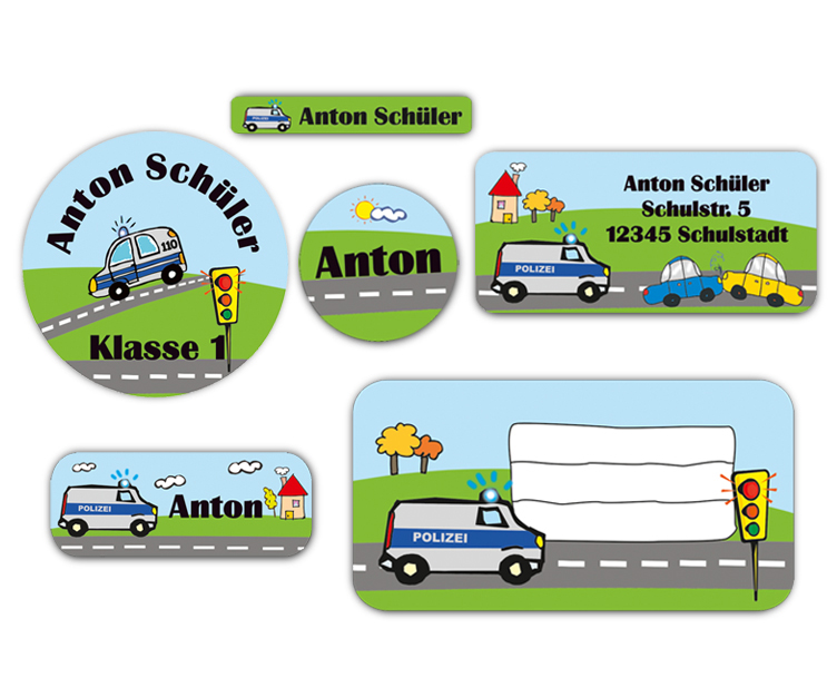 Schulaufkleber-Set - Motiv: Polizei - Namensaufkleber, Stifteaufkleber, Adressaufkleber, Heftaufkleber,  hochwertige, umweltfreundliche PVC-freie Folie