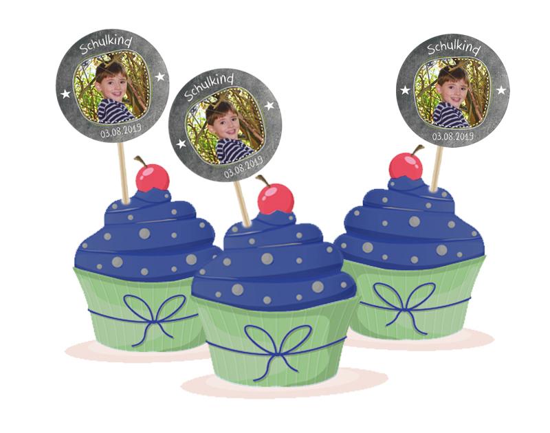 Kuchendeko - Aufkleber für Cupcakes zur Einschulung - personalisierbar mit Foto