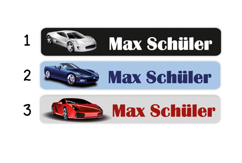 Stifteaufkleber 0,7 x 4,5 cm - hochwertige PVC-freie Folie - mit Namen personalisierbar - Motiv: Sportwagen