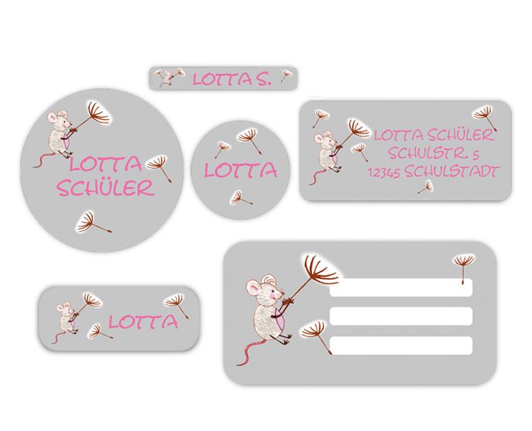 Schulaufkleber-Set - Motiv: Maus mit Pusteblumenschirmchen - Namensaufkleber, Stifteaufkleber, Adressaufkleber, Heftaufkleber,  hochwertige, umweltfreundliche PVC-freie Folie