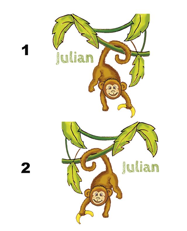 Türaufkleber niedlicher Affe mit Banane, mit Wunschname personalisierbar