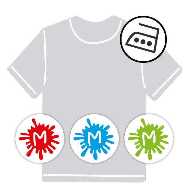 dauerhafte runde Bügeletiketten - auch personalisierbar mit Namen oder Initialen - für Kindergarten u. Schule - PVC frei -  Motiv: Farbkleckse