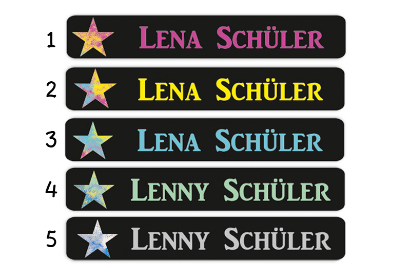 Stifteaufkleber 0,7 x 4,5 cm - hochwertige PVC-freie Folie - mit Namen personalisierbar - Motiv: Bunter Stern