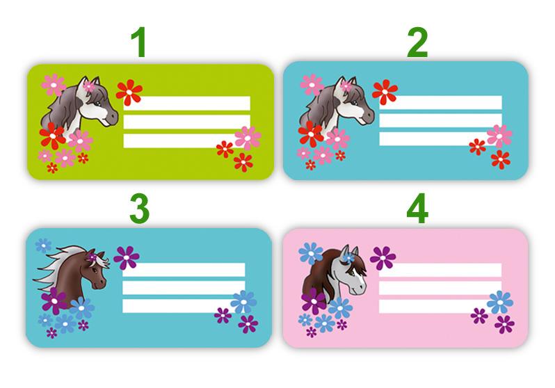 Heftaufkleber zum selber beschriften - Motiv: Pony mit Blumen - hochwertige, umweltfreundliche PVC-freie Folie