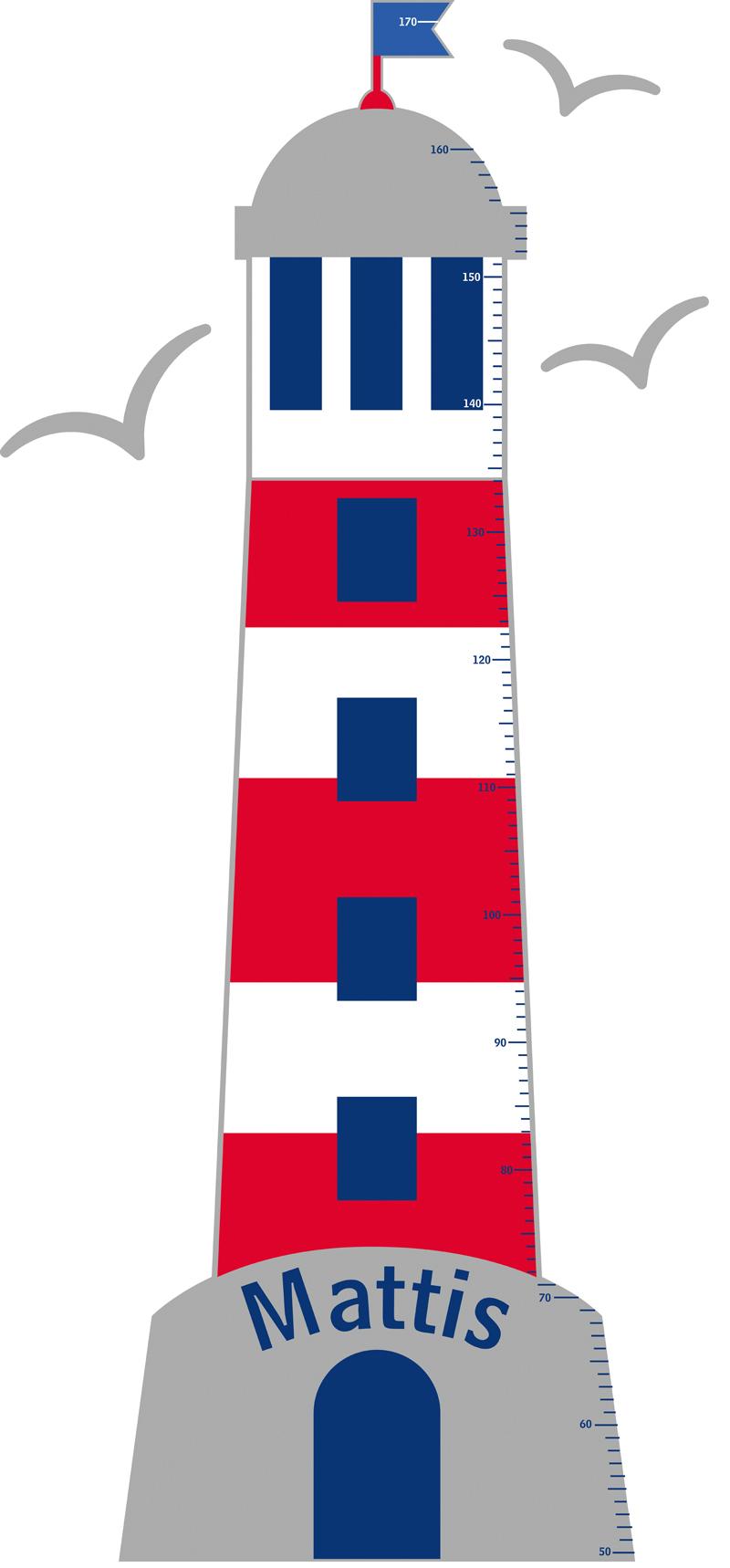 selbstklebende Kindermesslatte Leuchtturm in rot und blau mit drei Möwen - personalisierbar mit Name