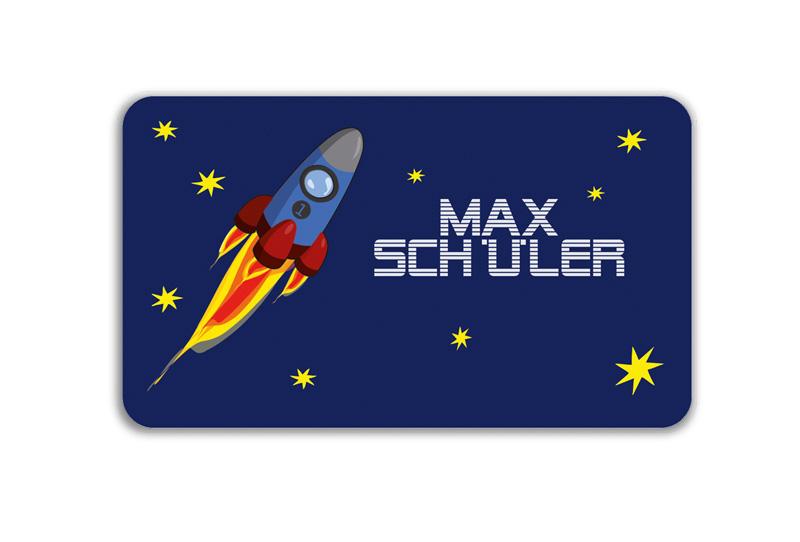 Brotdosenaufkleber 12 x 7 cm  - Motiv: Rakete - hochwertige PVC-freie Folie, ungiftige Farben - mit Namen personalisierbar