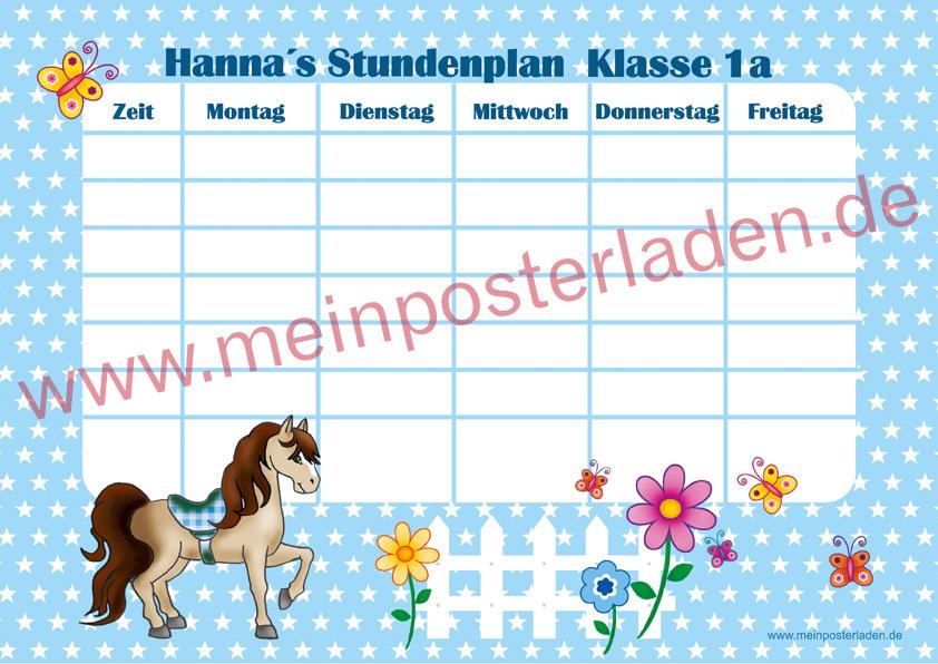 A4 Stundenplan mit Sternchen in hellblau mit niedlichen Pony , Blumen und Schmetterlingen, optional wiederbeschreibbar