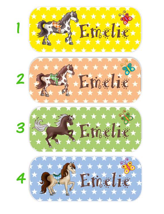 eckige Namensaufkleber, Motiv: Pferde und Sternchen,  hochwertige, umweltfreundliche PVC-freie Folie