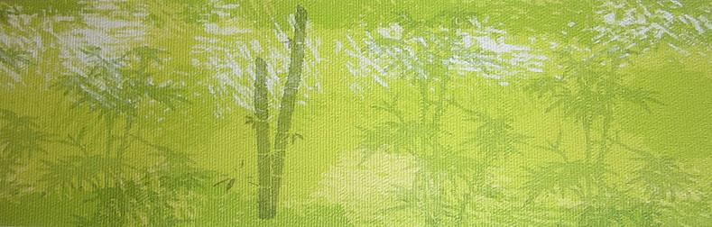 strukturierte Vliesbordüre mit grünem Bambusmotiven - Restposten