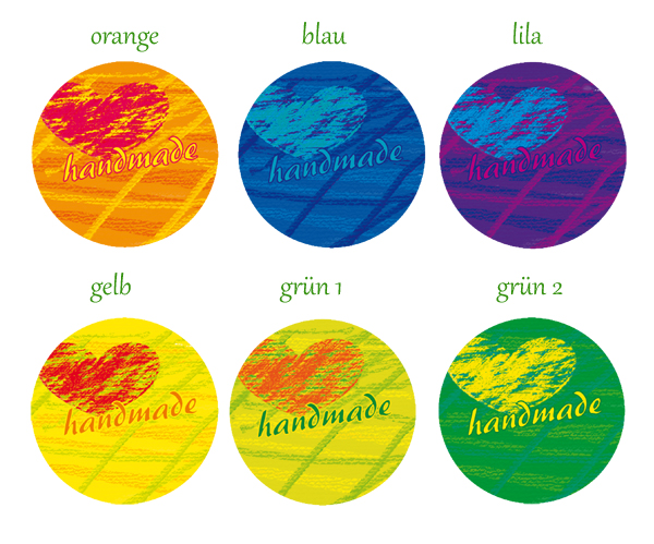 Handmadeaufkleber für dein Label - handmade - in Pastellkreideart - mit Herz