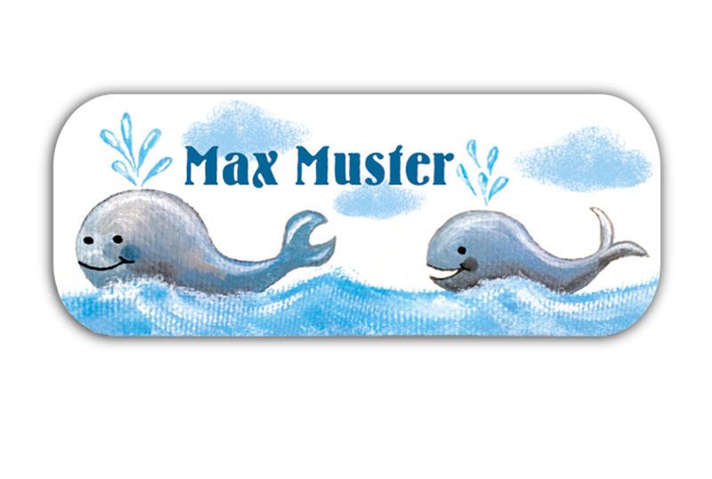 eckige Namensaufkleber, Motiv: Wale,  hochwertige, umweltfreundliche PVC-freie Folie