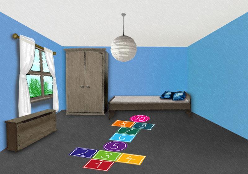Fußbodenaufkleber Hüpfkästchen - selbstklebende textile Fußbodenfolie, klebt auf fast allen Untergründen