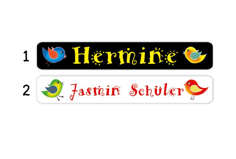 Stifteaufkleber 0,7 x 4,5 cm - hochwertige PVC-freie Folie - mit Namen personalisierbar - Motiv: Vögelchen