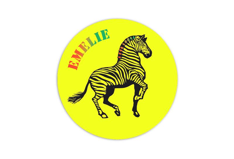 runde Neon Namensaufkleber: Zebra - auffällig durch intensive Leuchtwirkung