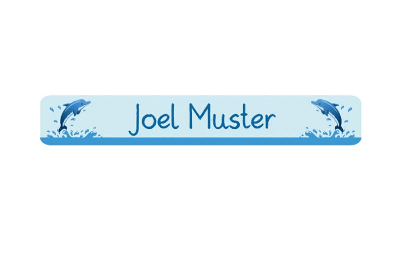 Stifteaufkleber 0,7 x 4,5 cm - hochwertige PVC-freie Folie - mit Namen personalisierbar - Motiv: Delfin