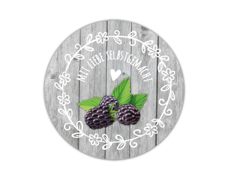 Marmeladenaufkleber Brombeere - für deine selbstgemachten Konfitüren & Marmeladen - umweltfreundlich - wasserfest