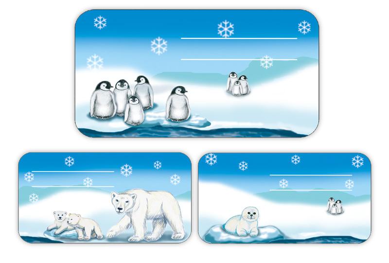 Schulaufkleber mit handgemalten Motiven: Eisbär, Pinguin, Babyrobbe