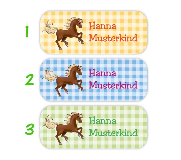 eckige Namensaufkleber, Motiv: Pferde auf Karos,  hochwertige, umweltfreundliche PVC-freie Folie