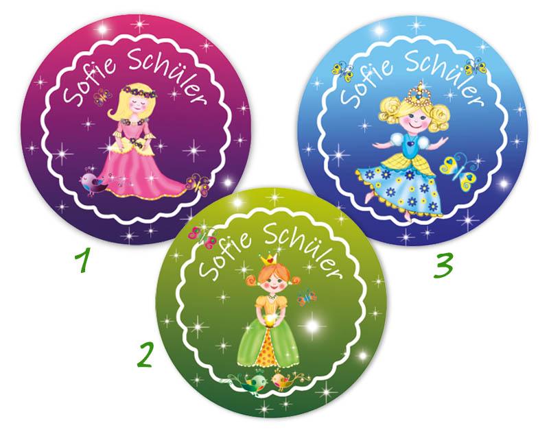 runde Namensaufkleber, Motiv: Märchenprinzessin,  hochwertige, umweltfreundliche PVC-freie Folie