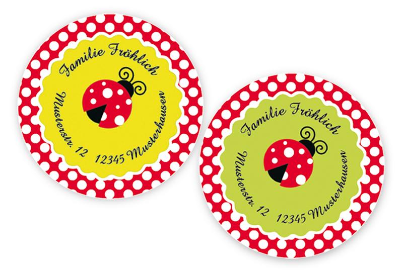 runde Adressaufkleber mit Marienkäfer, auf umweltfreundlichen PVC-freien selbstklebenden Papier, wasserfest