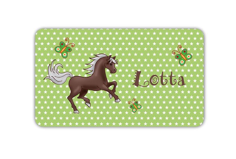 Brotdosenaufkleber 12 x 7 cm  - Motiv: Pferd mit Sternchen und Schmetterlingen,  hochwertige PVC-freie Folie, ungiftige Farben - mit Namen personalisierbar