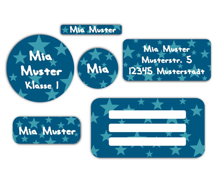 Schulaufkleber-Set - Motiv: Sterne - Namensaufkleber, Stifteaufkleber, Adressaufkleber, Heftaufkleber,  hochwertige, umweltfreundliche PVC-freie Folie