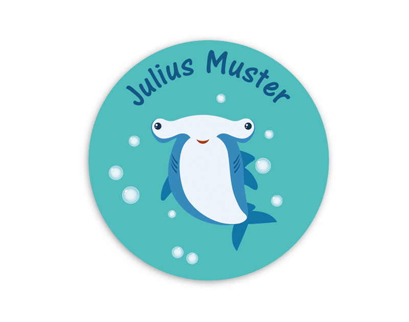runde Namensaufkleber, Motiv: freundlicher Hammerhai,  hochwertige, umweltfreundliche PVC-freie Folie