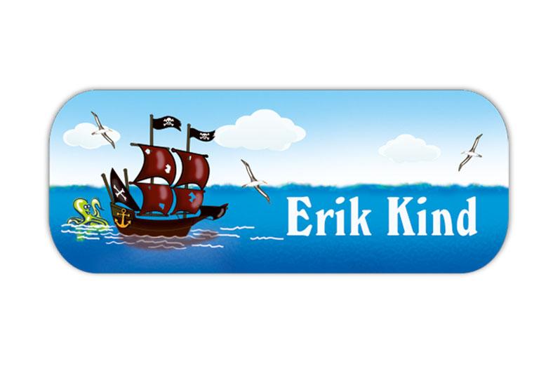 eckige Namensaufkleber, Motiv: Kleiner Pirat - Piratenschiff mit Oktopus, hochwertige, umweltfreundliche PVC-freie Folie