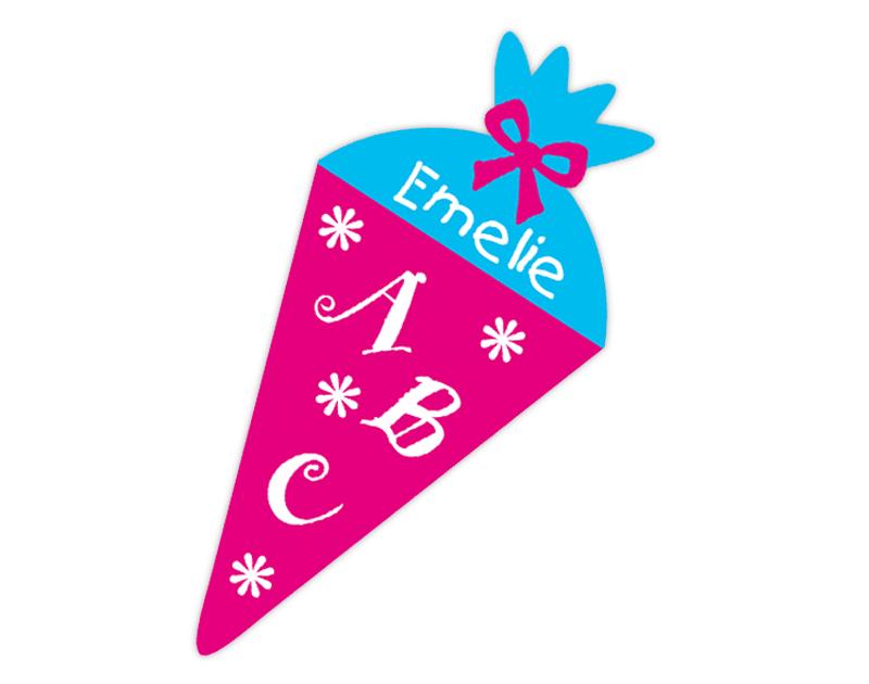 Form-Namensaufkleber für die Einschulung: Zuckertüte ABC - personalisierbar mit Wunschname- als Gastgeschenk, für Einladungen, Schulanfang, Einschulung,