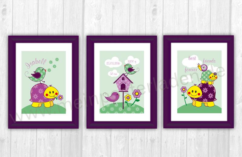 3 er Set Kinderposter mit niedlicher Schildkröte, Vogel und Schnecke - personalisierbar mit Name und Geburtsdaten des Kindes, tolle Geschenkidee