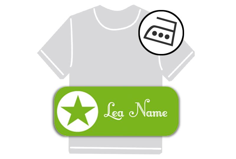 dauerhafte Bügeletiketten mit Namen für Kindergarten u. Schule - PVC frei -  Motiv: Stern