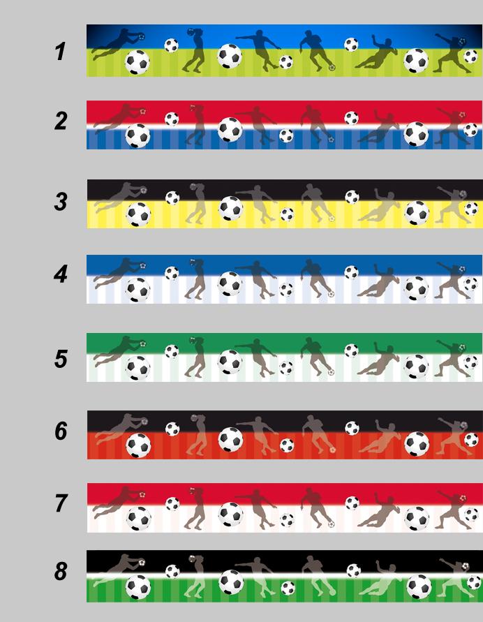 umweltfreundliche Vlies Bordüre mit Fußbällen und Fußballspielern in vielen Farbvarianten