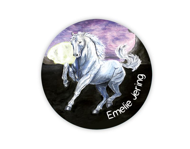 runde Namensaufkleber, Motiv: weißes Pferd mit Vollmond,  hochwertige, umweltfreundliche PVC-freie Folie