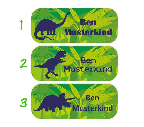 eckige Namensaufkleber, Motiv: Dinos, T-Rex, Langhals, Triceratops, hochwertige, umweltfreundliche PVC-freie Folie