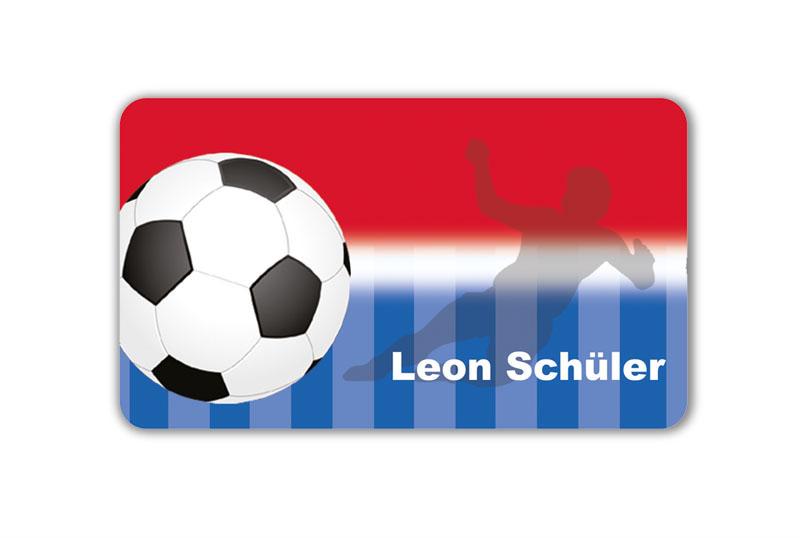 Brotdosenaufkleber 12 x 7 cm  - Motiv: Fußball - hochwertige PVC-freie Folie, ungiftige Farben - mit Namen personalisierbar