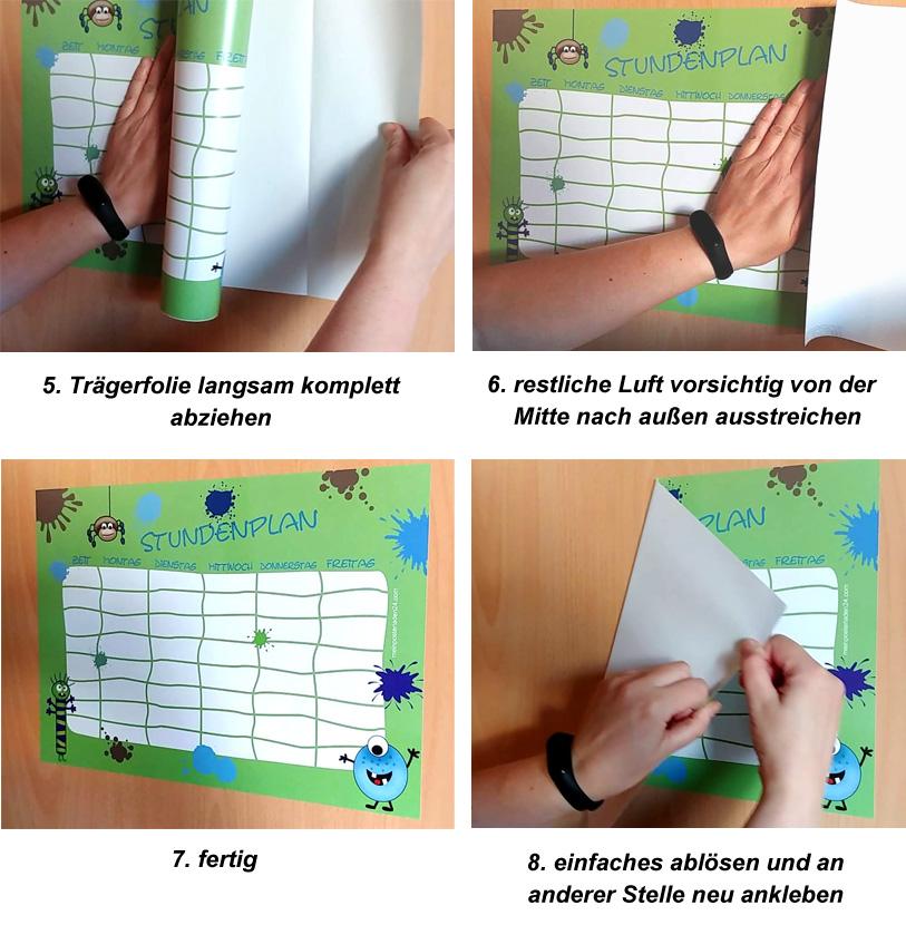 Verklebeanleitung von selbstklebenden Stundenplan gedruckt auf Easy-Dot® Klebefolie