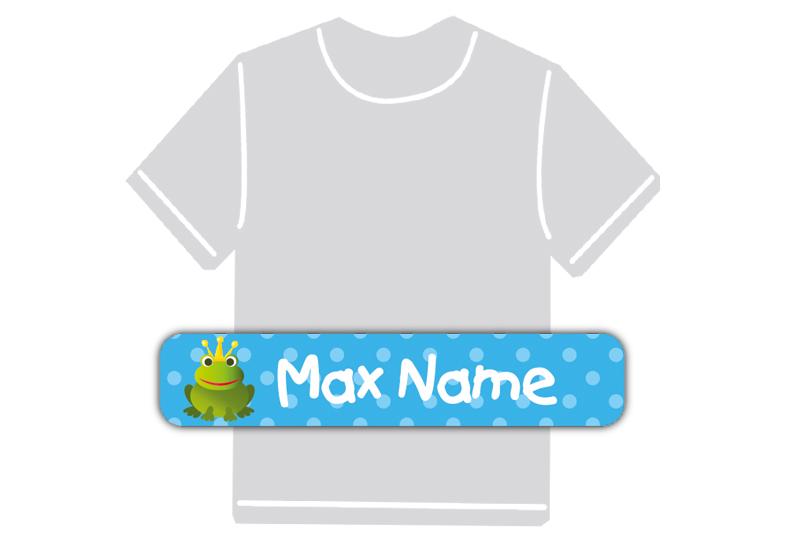 dauerhafte Bügeletiketten mit Namen für Kindergarten u. Schule - PVC frei -  Motiv: Frosch