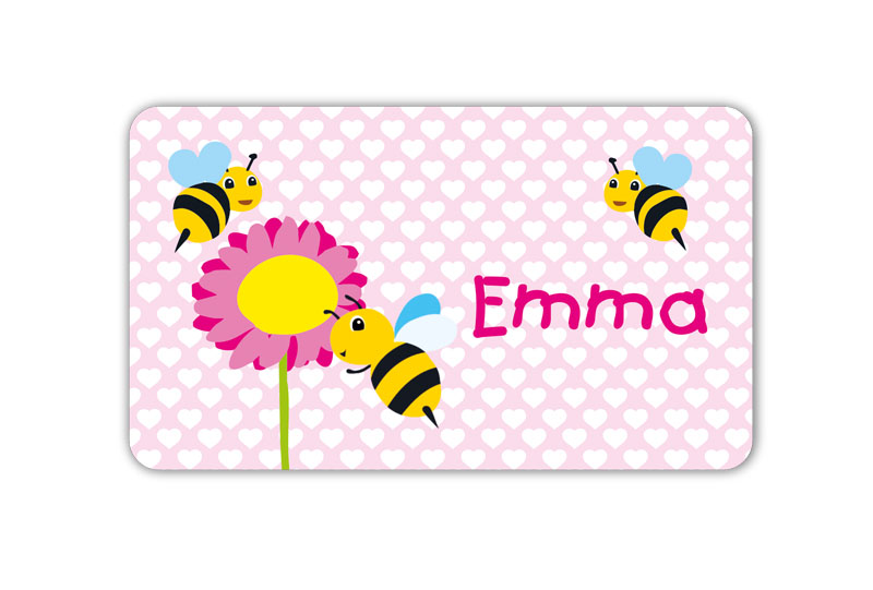 Brotdosenaufkleber 12 x 7 cm  - Motiv: Bienchen mit Blume - hochwertige PVC-freie Folie, ungiftige Farben - mit Namen personalisierbar