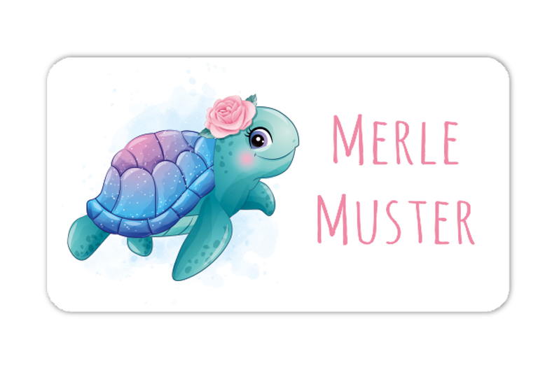 eckige Namensaufkleber, Motiv: niedliche Schildkröte - watercolor,  hochwertige, umweltfreundliche PVC-freie Folie, spülmaschinenfest, ungiftige Farben