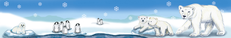 Wandbordüre mit Eisbären, Pinguinen und Babyrobbe - Motive liebevoll handgemalt