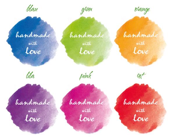 Handmadeaufkleber für dein Label - handmade with love - Farbklecks - Wasserfarbenoptik