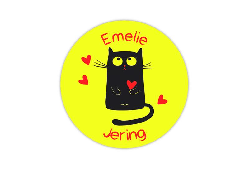 runde Neon Namensaufkleber: Katze mit Herzchen - auffällig durch intensive Leuchtwirkung