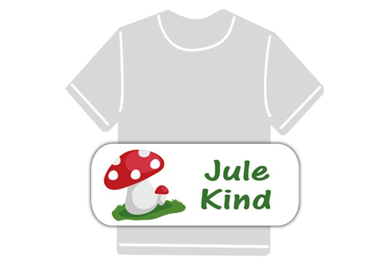 dauerhafte Bügeletiketten mit Namen für Kindergarten u. Schule - PVC frei -  Motiv: Fliegenpilz