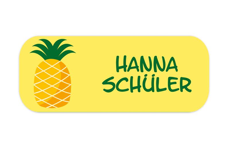eckige Namensaufkleber, Motiv: Ananas,  hochwertige, umweltfreundliche PVC-freie Folie