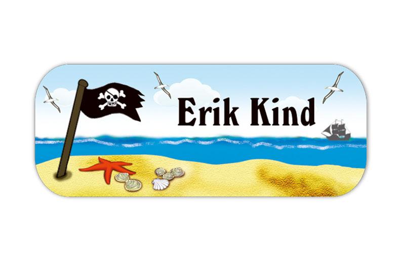 eckige Namensaufkleber, Motiv: Kleiner Pirat - Piratenflagge, hochwertige, umweltfreundliche PVC-freie Folie