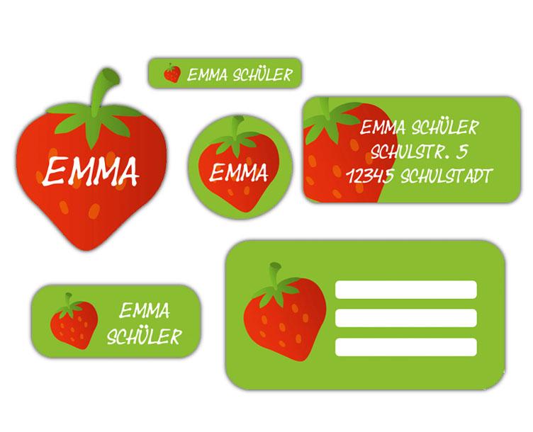 Schulaufkleber-Set - Motiv: Erdbeere - Namensaufkleber, Stifteaufkleber, Adressaufkleber, Heftaufkleber,  hochwertige, umweltfreundliche PVC-freie Folie
