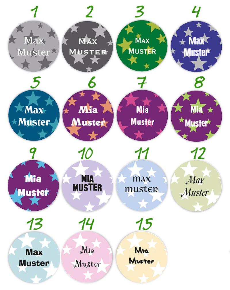 runde Namensaufkleber, Motiv: Sterne in vielen Farben,  hochwertige, umweltfreundliche PVC-freie Folie