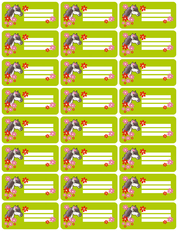 Heftaufkleber: Pony Blumen