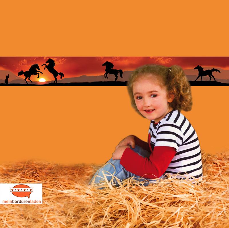 umweltfreundliche Kinder Vliesbordüre - Wildpferde